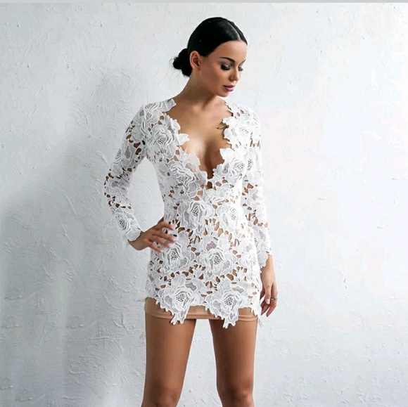Na dresses sexy white nude v neck lace flower dress poshmark sexy white nude v neck lace flower dress mightylinksfo